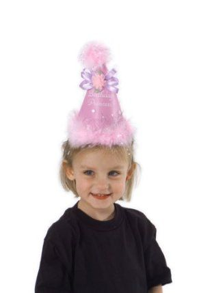 "Elope Birthday Princess Cone pink by Elope Inc.. Save 10 Off!. $6.30. Elastic chin strap. Great quality. Vinyl, satin, maribou. Kids' size, ages 3-12, fits 55-56 cm heads (21.75 ""). Birthday Princess Cone hat. From the Manufacturer                This fancy little cone is perfect for that special child's birthday. Made of lavender vinyl and embellished with a marabou-tinsel ball and a satin bow. The perfect accessory for that special day.                                    Product…"