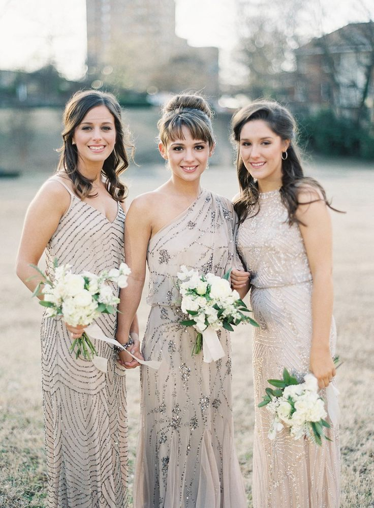 Glam Neutral Bridesmaids Dresses | Rylee Hitchner Photography