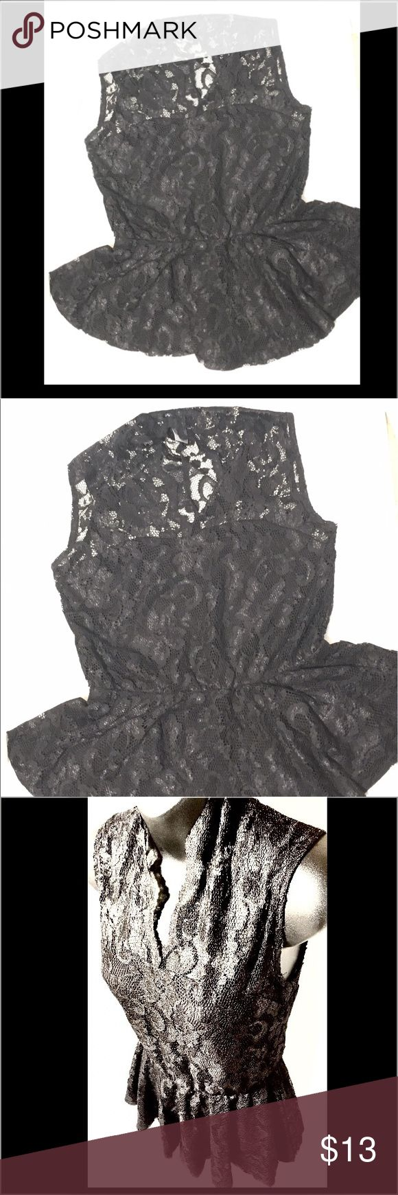 Lace Peplum Top Excellent Condition, Like New! Missguided Tops