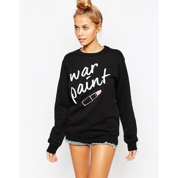 Adolescent Clothing Boyfriend Sweatshirt With War Paint Print ($38) ❤ liked on Polyvore featuring tops, hoodies, sweatshirts, black, black top, boyfriend tank top, print sweatshirt, patterned sweatshirt and boyfriend sweatshirt