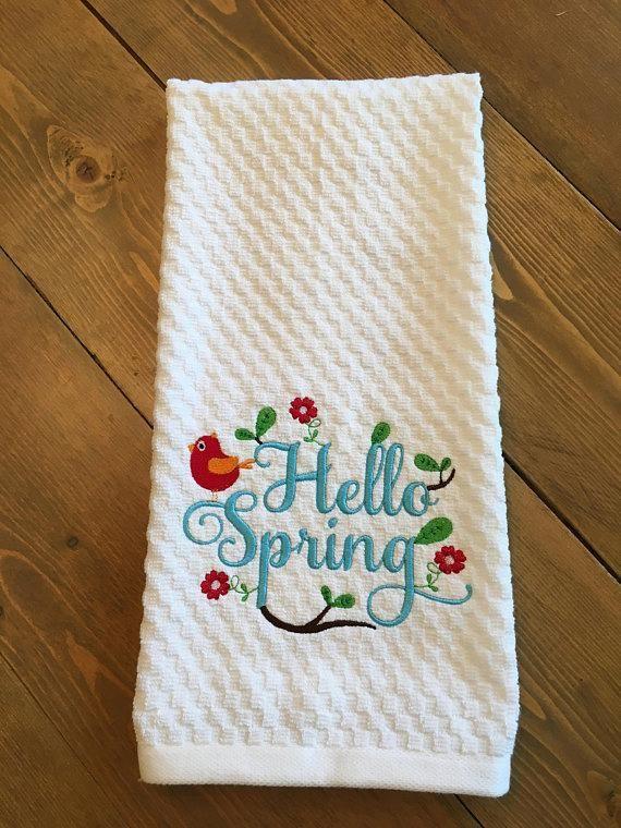 Springtime Embroidered Decorative Kitchen Towel Dish Towel Tea