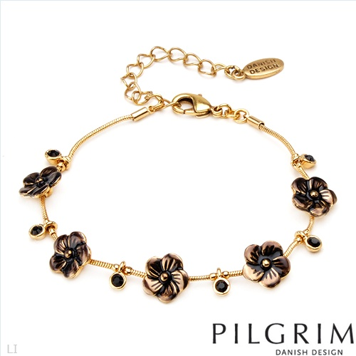$15.00  PILGRIM SKANDERBORG, DENMARK Irresistible Brand New Bracelet With Genuine Crystals in Yellow Base metal and Brown Enamel. Total item weight 7.5g  - Certificate Available.
