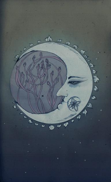 Moon, tree, serenity.