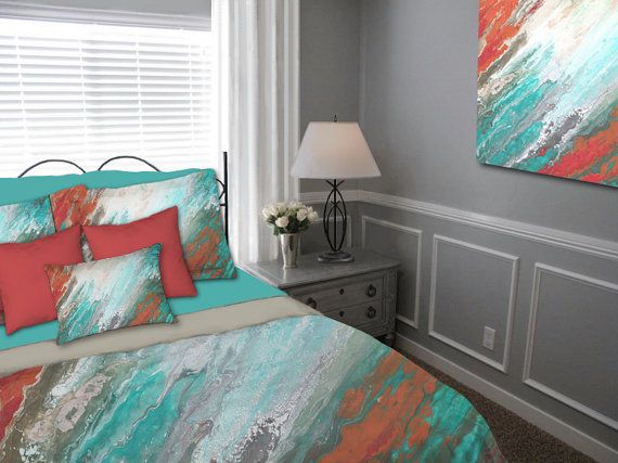 Abstract duvet cover or bedding ensemble featuring original art. Gray, aqua, teal, and coral bedroom decor by Denise Cunniff - ArtFromDenise.com. View more info at https://www.etsy.com/listing/259900903