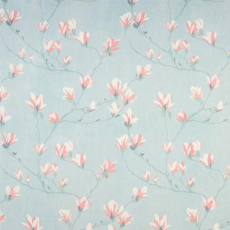 Magnolia Grove Duck Egg Curtain Fabric Wallpapers