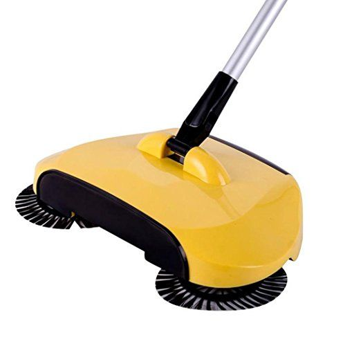 Sweeping Broom, Kingfansion 360 Rotary home Use Magic guidebook Telescopic Floor Dust Sweeper (Yellow)