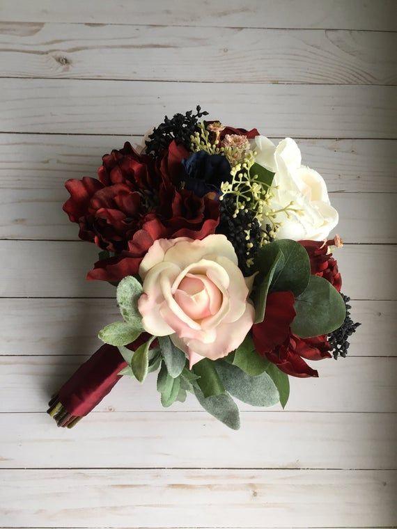 Burgundy Wedding Bouquet Silk Wedding Bouquet Navy Bridal