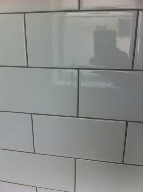 Colored Grout And New Tile Create Fresh Bathroom Look: Subway Tile Gray Grout
