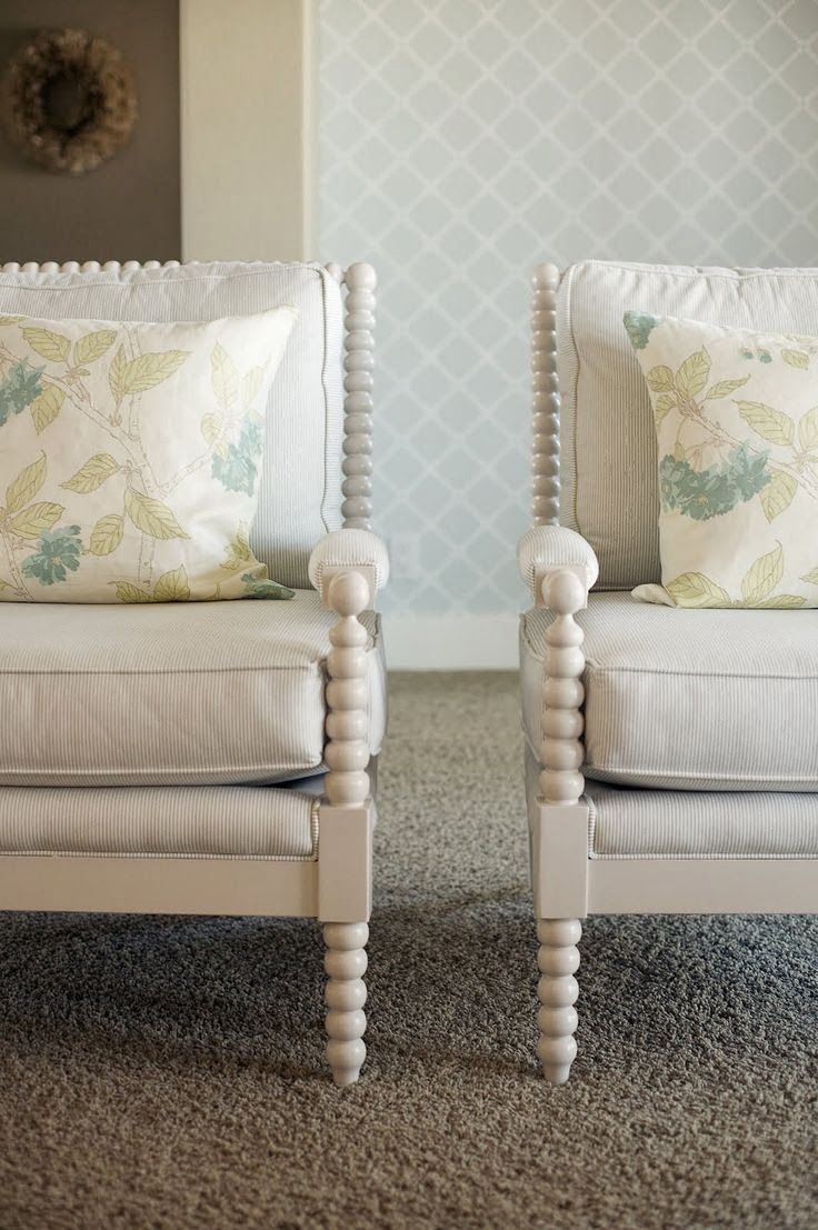 spindle chairs. Would like mine painted this kind of color, more rustic