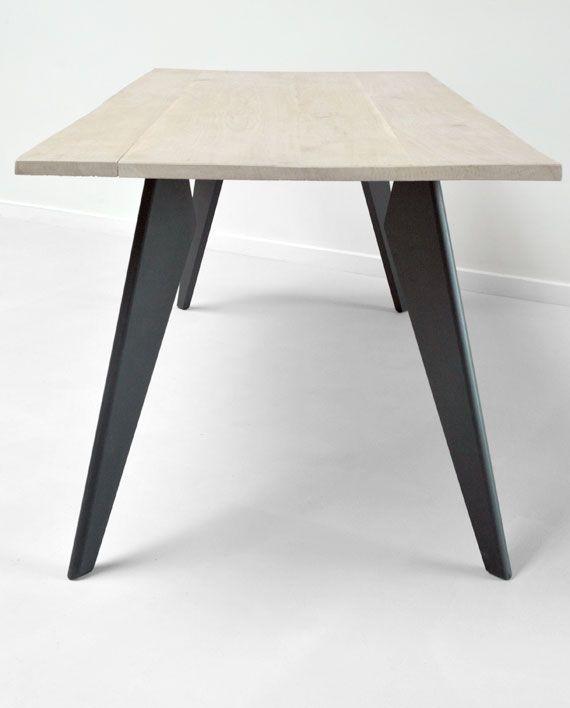 Les 25 meilleures id es concernant pied table haute sur pinterest pied de t - Table basse blanche pied bois ...