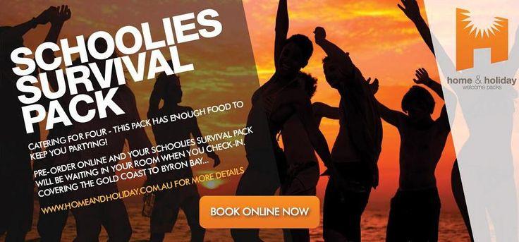 Schoolies Survival Pack! Order online. www.homeandholiday.com.au