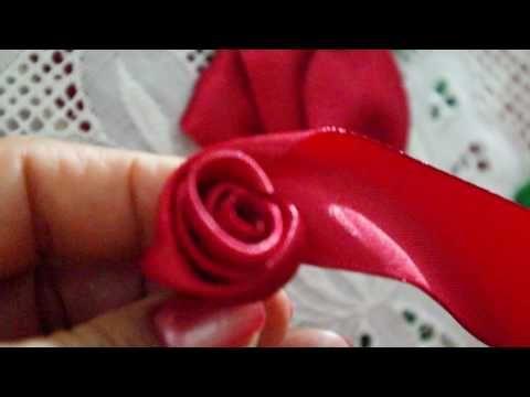 come fare una rosa con nastro di raso - YouTube