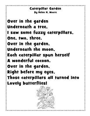 Caterpillar Garden poem (We changed cocoon to chrysalis to be more accurate.  :) )
