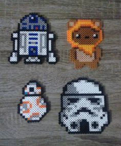 Star Wars - R2D2, Ewok (Wicket), BB-8 & Trooper Perler Beads