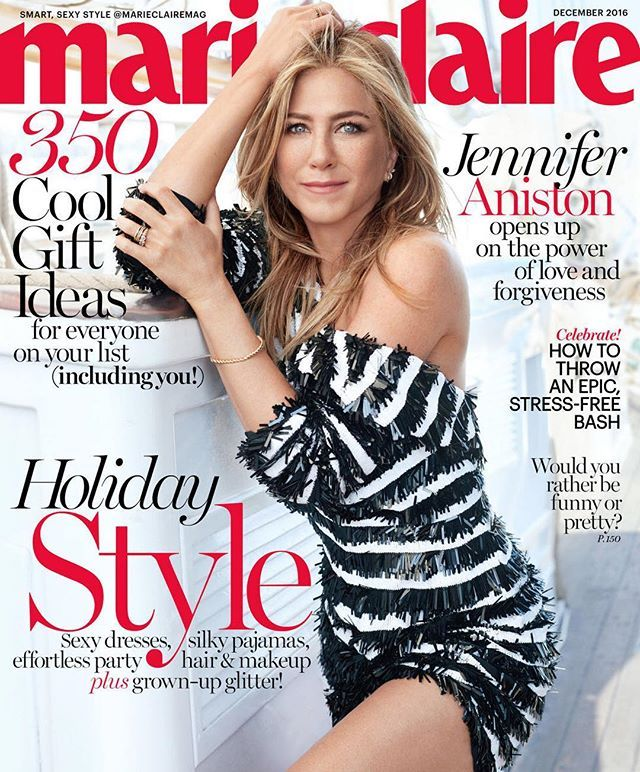 """In our December issue, Jennifer Aniston opens up about being """"at a crossroads."""" Having gracefully navigated the pitfalls of fame, the actress—who stars in this month's raunchy comedy @officexmasparty—plots her next destination. Read highlights from her interview with @kimcutter1 by clicking the link in our bio. Photograph by #MichelangeloDiBattista. #JenforMC"""