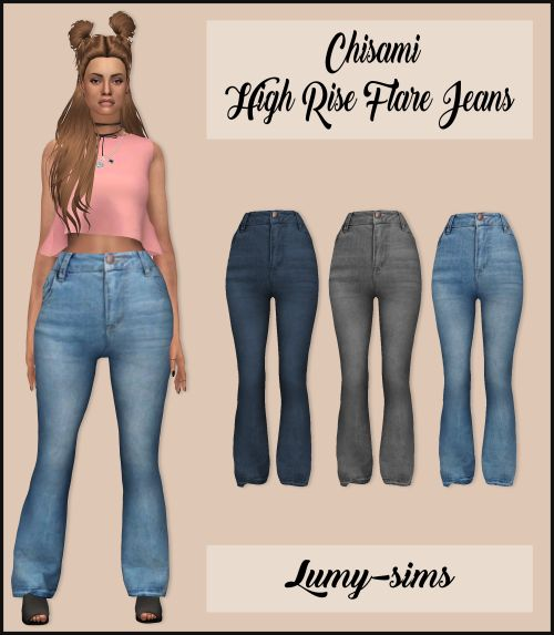 Lumy-Sims : Chisami High Rise Flare Jeans.
