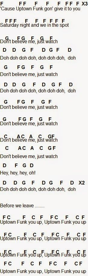 Ukulele uptown funk ukulele chords : 1000+ images about Sheet Music on Pinterest