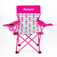 Children's Camp Chair Seahorses in lovely feminine colours with seahorses to give that beachy feeling http://teddybearsandgifts.com.au/childrens-camp-chair-seahorses/