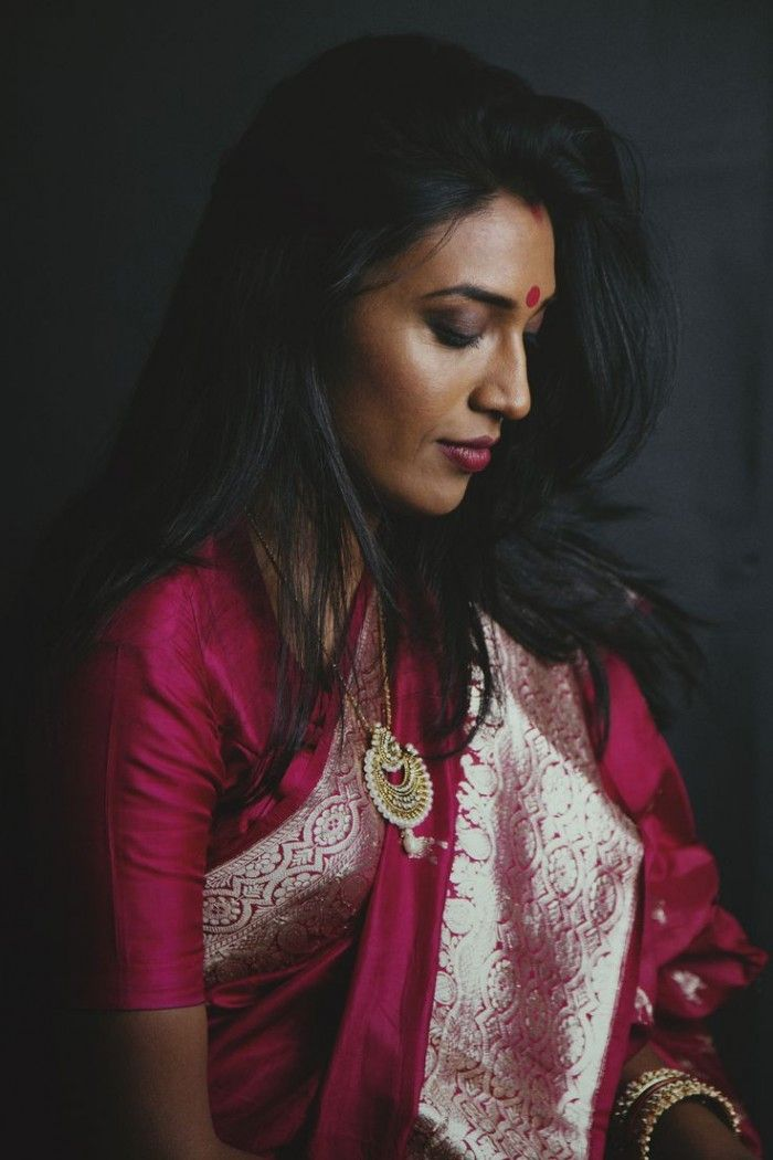 Gorgeous magentha pink Banaras silk saree