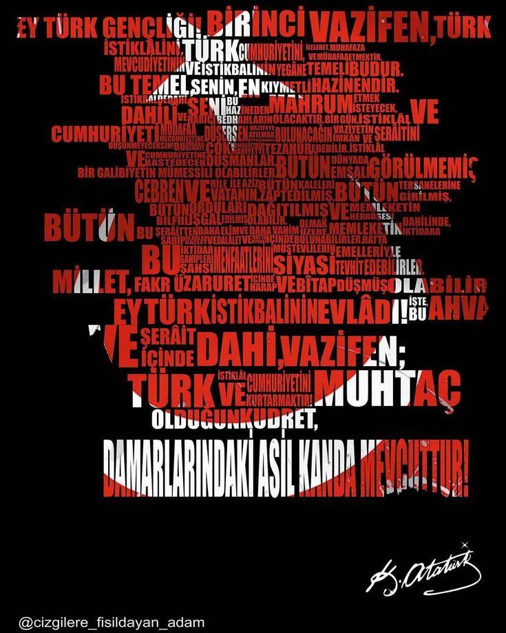 """Her kafanın anlamaktan aciz olduğu yüksek bir varlıktır gençlik . """"Mustafa Kemal Atatürk""""  #atatürk #gençlik #spor #bayram #türkiye #ayyildiz #bayrak #vatan #19mayıs #artworks #arte #art #sanat #coreldraw #illustration #flag #turkeyflag #turkish #turkey #typography #letter #desinger #desing #tasarım #graphics #grafik #photography #mustafakemalatatürk http://turkrazzi.com/ipost/1517720664353283588/?code=BUQBucrDB4E"""