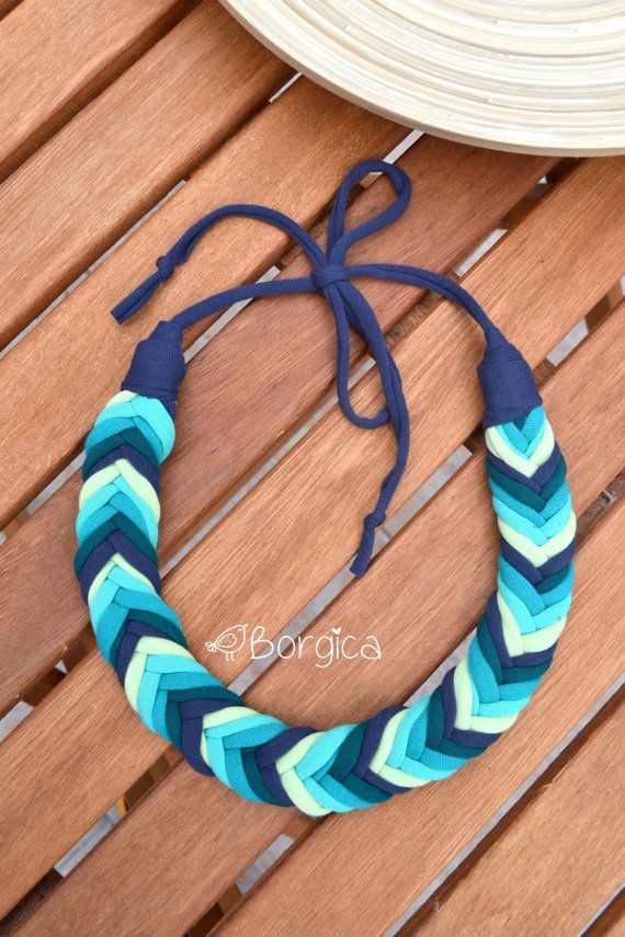 Ombre Turquoise Blue Bib Braided Necklace Statement by Borgica #eco_friendly_jewelry #fabric_jewelry #recycled_jewelry #upcycled_necklace #ombre_necklace #knotted_jewelry