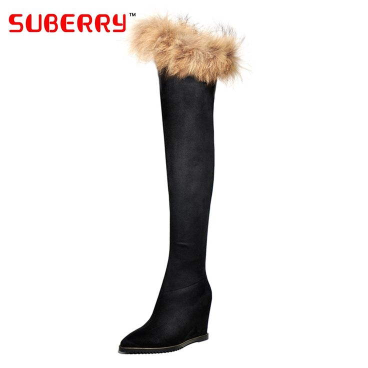 99.00$  Watch here - http://ali4g1.worldwells.pw/go.php?t=32754579982 - SUBERRY Fashion Top Quality Raccoon Fur Snow Boots Wedge Women Winter Boots 8.5cm High Heels Knee High Boots Lady Shoes Designer