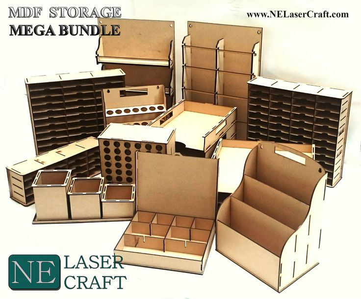 Large selection of laser cut storage boxes.