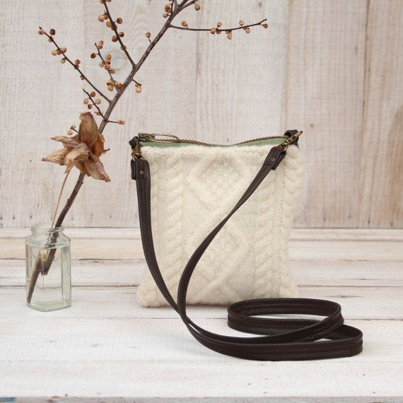 Recycled Aran Wool Cross Body Purse in Ivory with by karenmeyers
