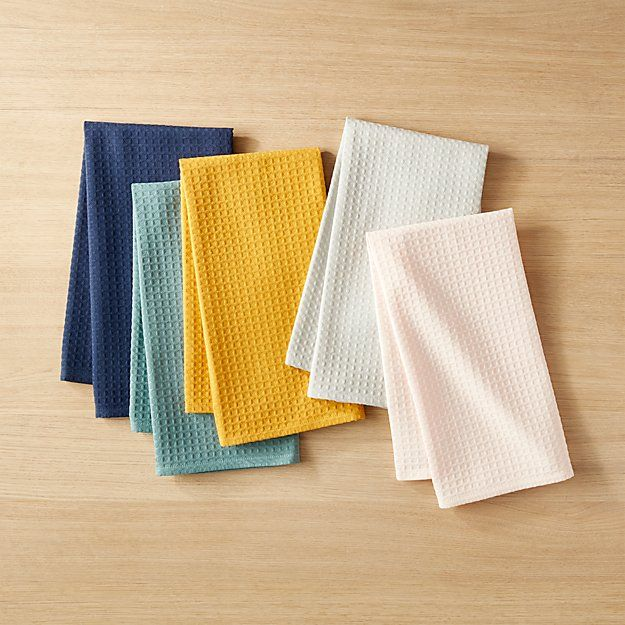 Waffle Weave Colorful Kitchen Towels Set Of 5 Reviews With