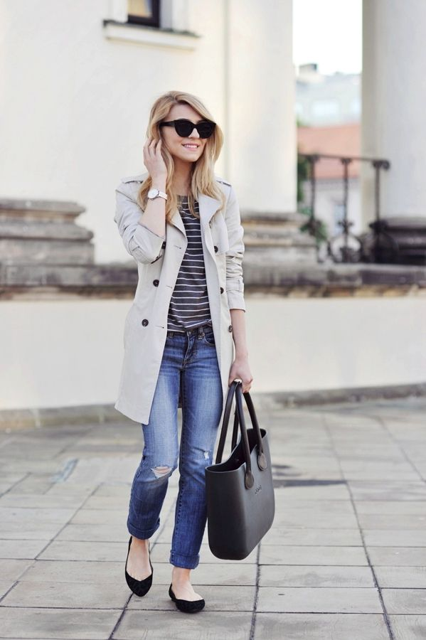trench, jeans, black flats