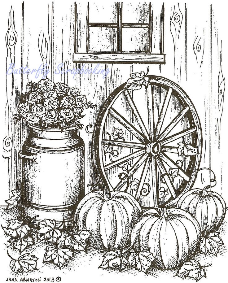 Fall Pumpkin Wagon Wheel Wood Mounted Rubber Stamp Northwoods Rubber Stamp New