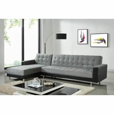 LUXURY Canapé d'angle réversible convertible 5 places - Tissu gris et simili noir - Contemporain - L 300 x P 165 cm