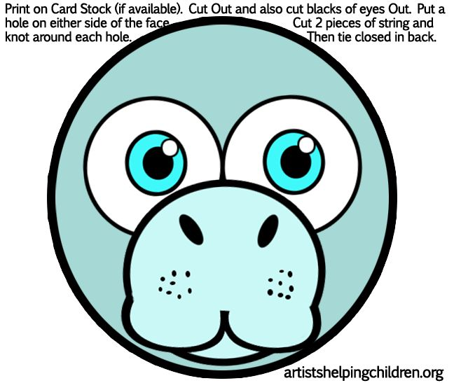 Manatees Masks Printables Png 648 215 547 Pixels Fun For