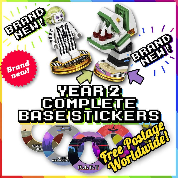 NEW! YEAR 2 COMPLETE Lego Dimensions Tag Stickers - 32 Designs For Bases