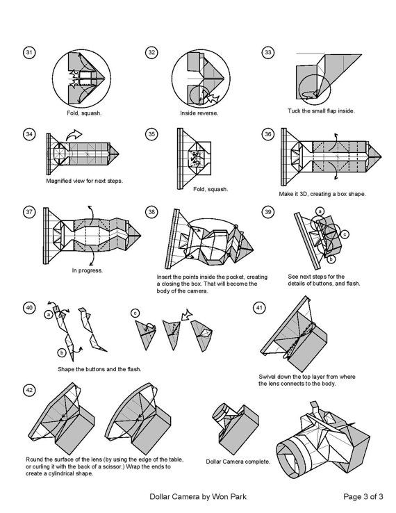 Camera Diagram  3 Of 3  Money Origami Dollar Bill Art