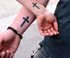 Couple cross tattoo. Christian couple. Super cute!