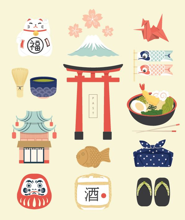 Japan Icons Illustration : PAST on Behance by Putri Febriana (Indonesia)