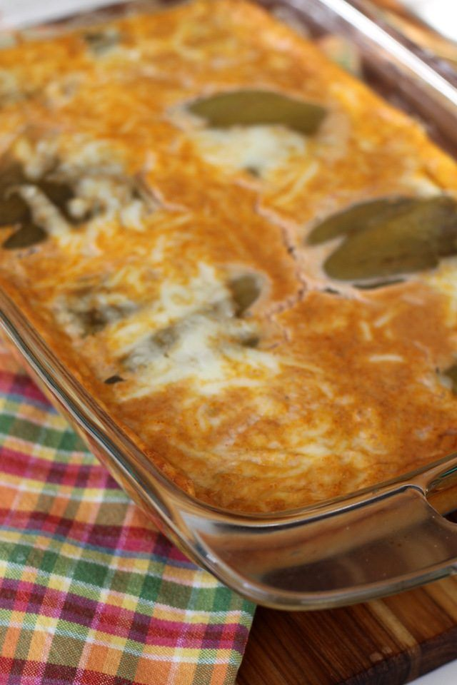 An easy vegetarian recipe for chile relleno casserole, full of eggs and cheese, the perfect comfort food meal.