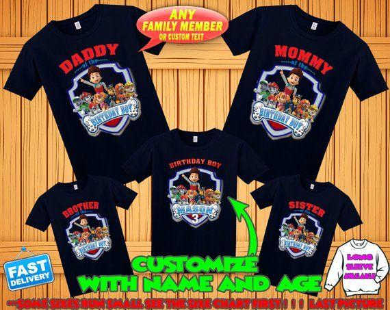 Paw Patrol Birthday Shirt Custom Tshirt Party Shirts Fa
