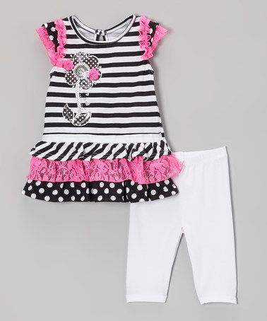 Love this Black Ruffle Top & White Leggings - Infant, Toddler & Girls by Nannette Girl on #zulily! #zulilyfinds