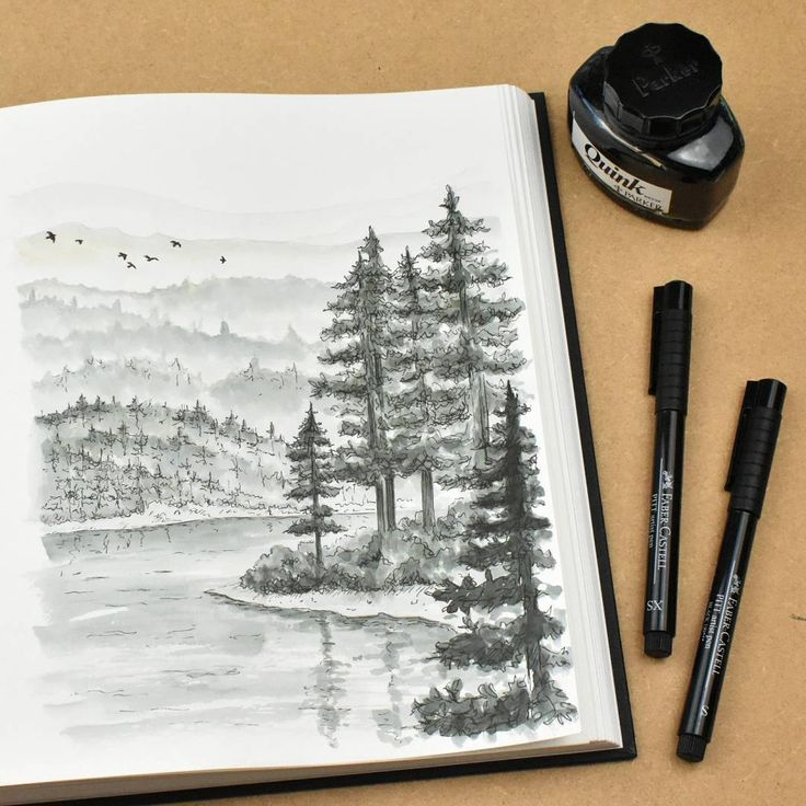 For #inktober Day 8 I painted / drew a landscape scene with Quink, brush and pen. Usually I would draw pen line first then add colour/ wash afterwards. For this I did a light pencil sketch for the basic shapes first, Quink (diluted with water) with a brush and details in pen last - I like how it turned out a bit looser than I normally draw!  #inktober2016 #drawing #drawingoftheday #sketchbook #inkdrawing #penandink #quink #landscape #illustratorsofinstagram #artistofinstagram #sketch #in...