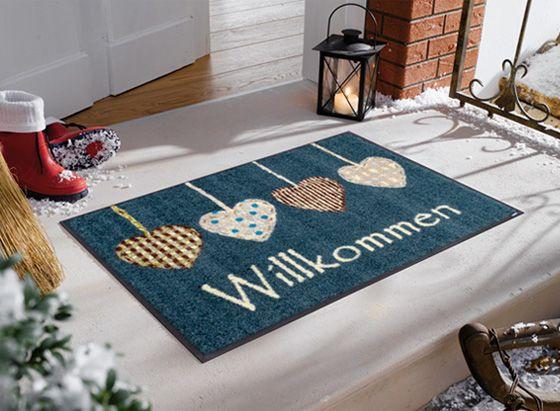 洗えるマットでキレイが続く。。玄関マット インテリアマット 屋外 屋内兼用 おしゃれ かわいい 洗える 敷くだけ 滑り止め 薄型 wash&dry(ウォッシュアンドドライ) Cottage Hearts 50×75cm A012A