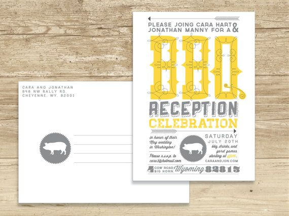 Casual customizable bbq wedding reception by SRinvitations on Etsy, $23.00