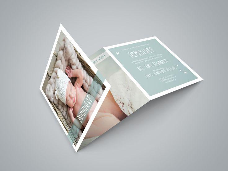 Geboortekaartje Dominique | new born fotografie | foto | baby | jongen | zacht blauw | sterretjes | bijzonder formaat | uniek kaartje | Studio Altena