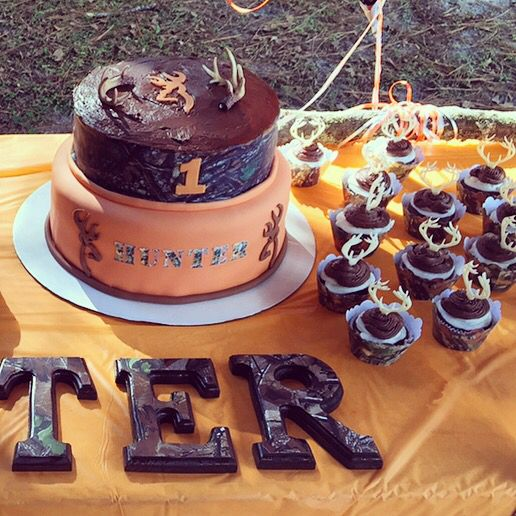 Antler Cake Camouflage First Birthday Boy Orange Camo