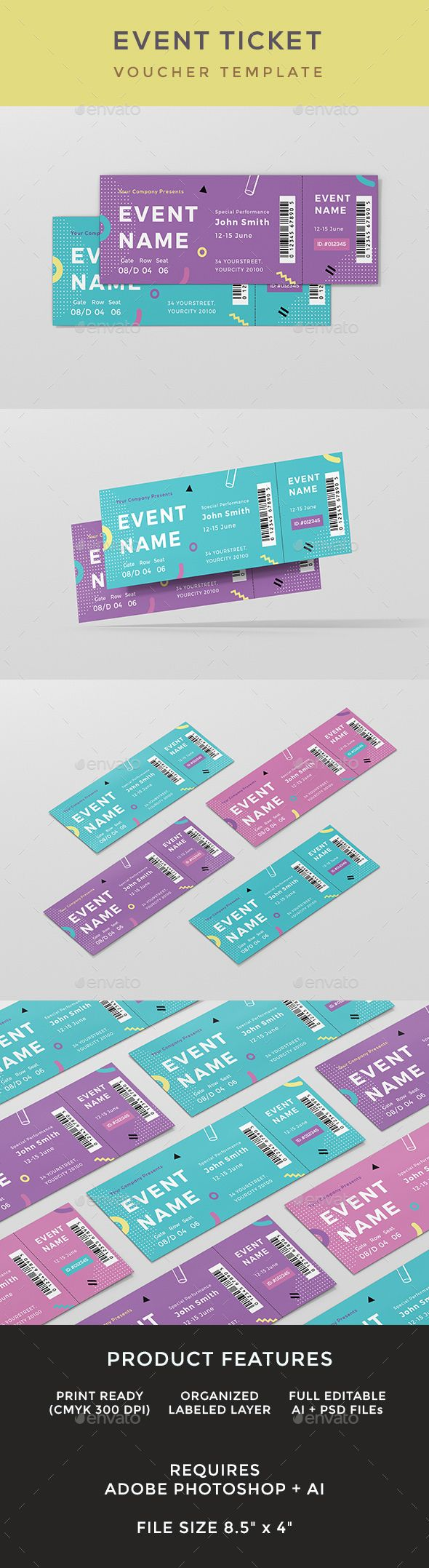 Event Ticket  #ai #illustrator #concert • Download ➝ https://graphicriver.net/item/event-ticket/18701882?ref=pxcr