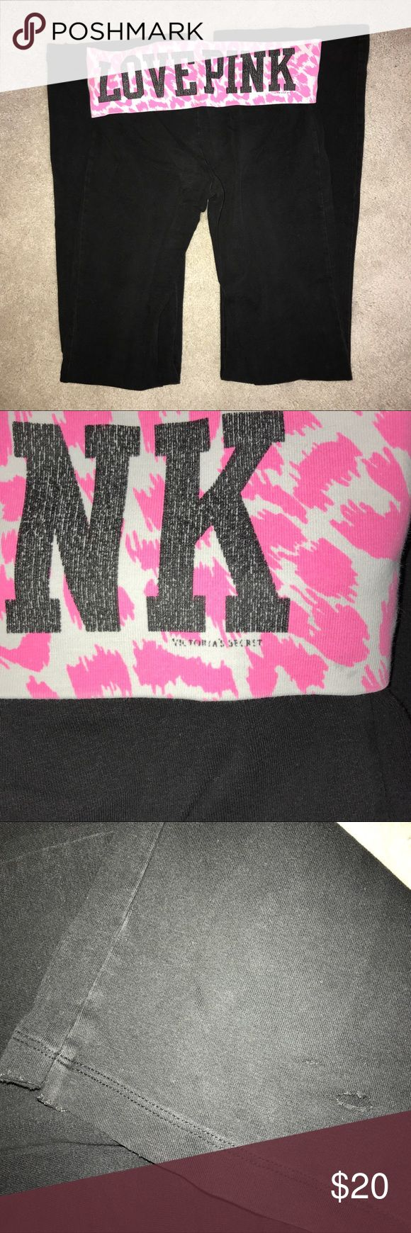 Victoria's Secret Pink Boot Cut Yoga Pants LOVE PINK yogas Black, white, & pink cheetah print Boot cut with slight tear at the bottom of the pants Slight cracking of print PINK Victoria's Secret Pants Boot Cut & Flare