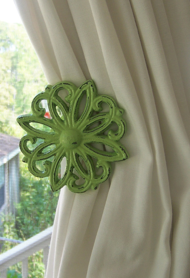 Distressed Green Curtain Tiebacks-Daisy Pattern-Cast Iron-Set of 2. $28.00, via Etsy.