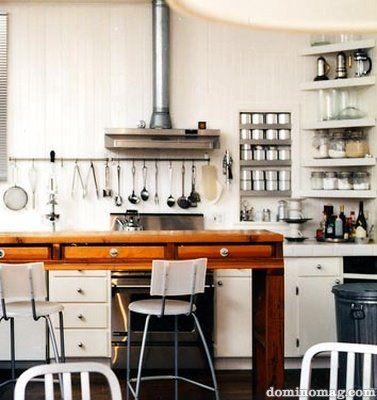 //kitchenBlog Milk, Kitchens Spaces, Open Shelves, Urban Home, Kitchens Inspiration, Cosy Kitchens, Apartments Inspiration, Corner Shelves, Domino Magazines