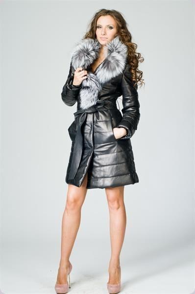 Кожаное пальто зимнее